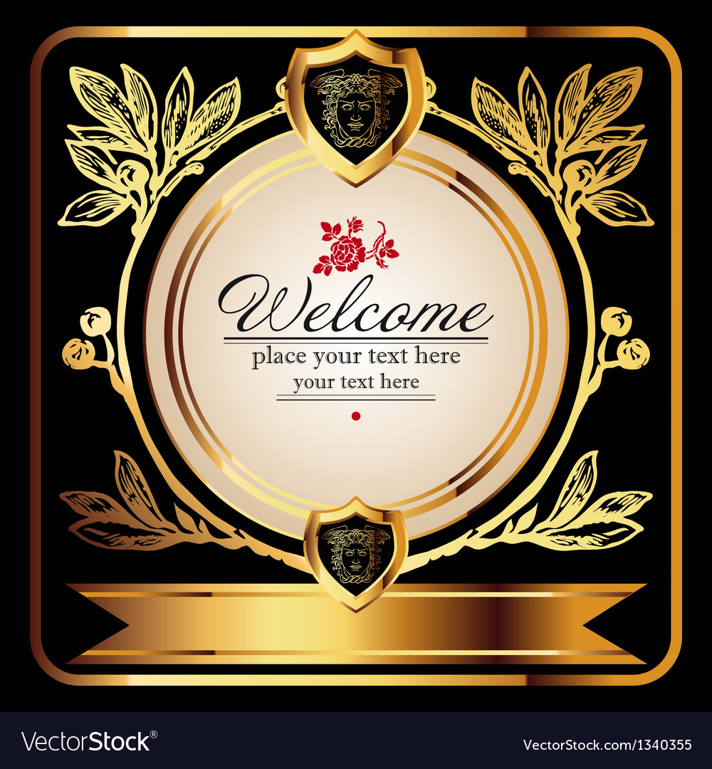 Golden royal lable on black background vector
