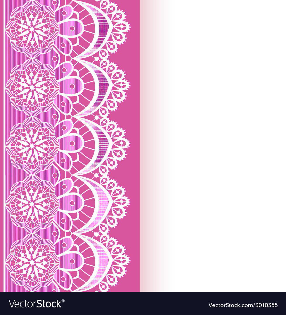 Pink background with a strip of lace and place vector
