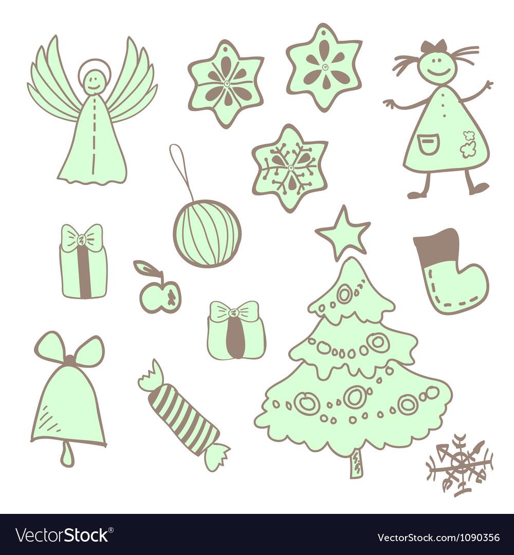 Fun christmas icons with a girl vector