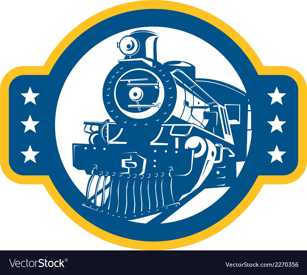 Steam train locomotive front retro vector