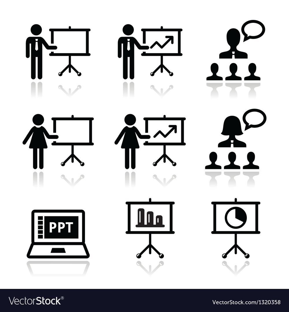 Business presentation lecture speech icon vector