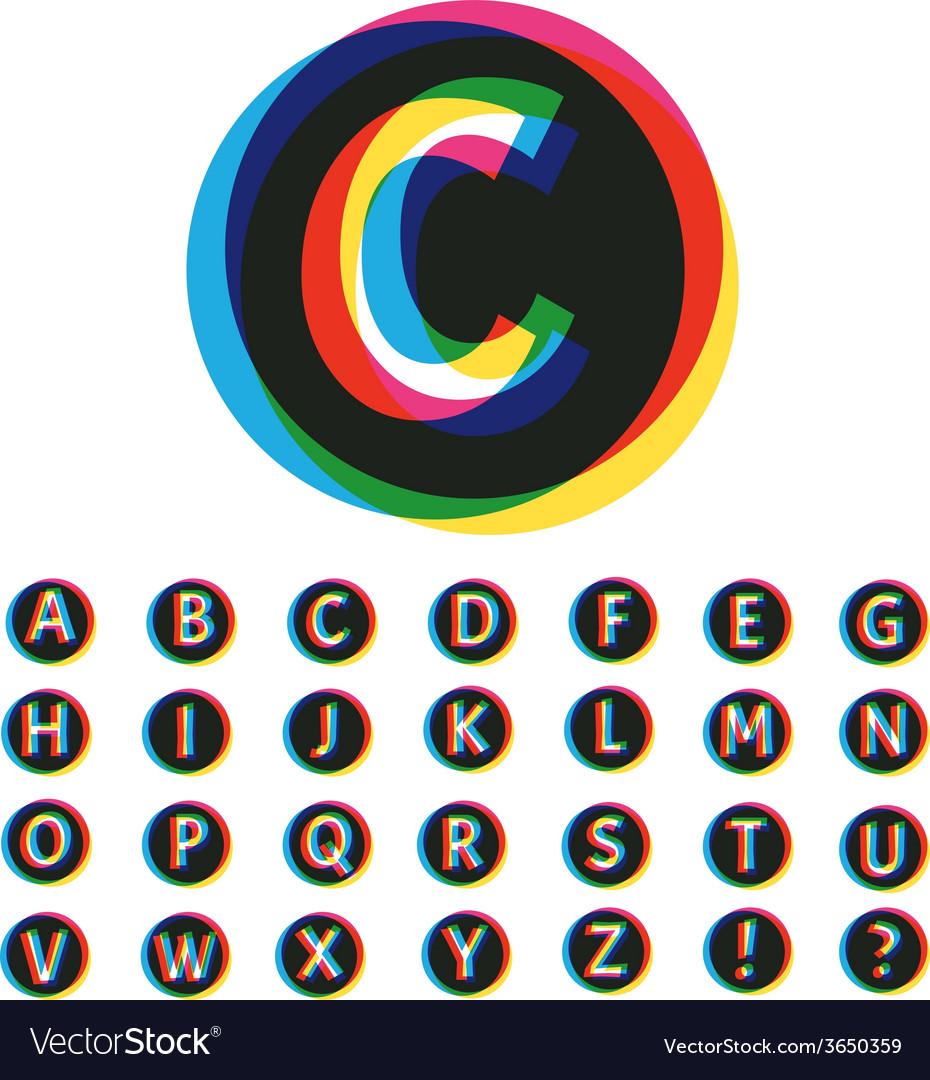 Trendy colorful alphabet set vector