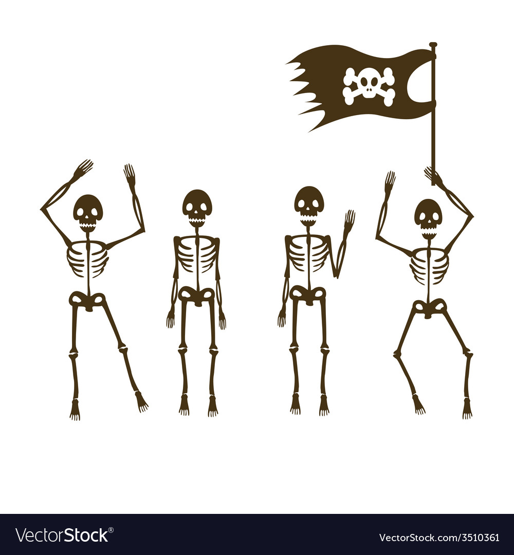 Four pirates skeletons vector