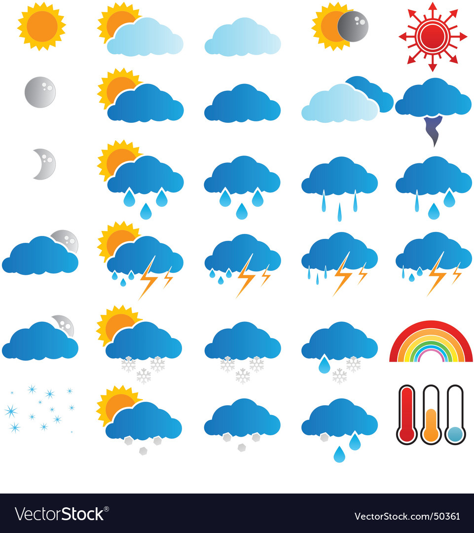 Weather broadcast icons vector
