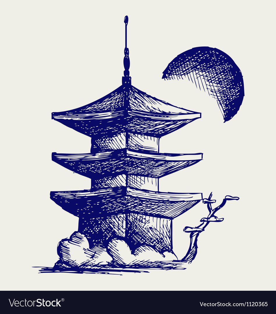 Buddhist zen temple vector