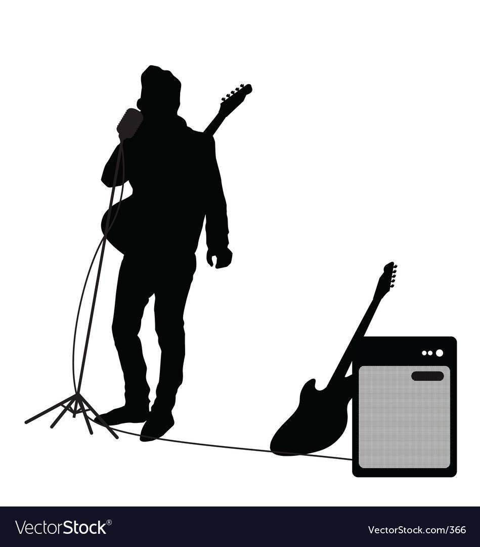 Rocker at mic vector