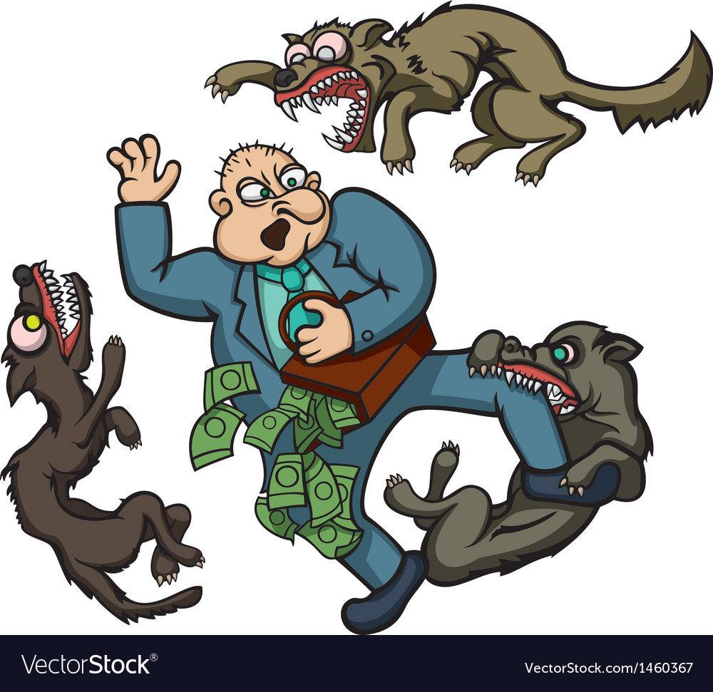 Man and dogs vector
