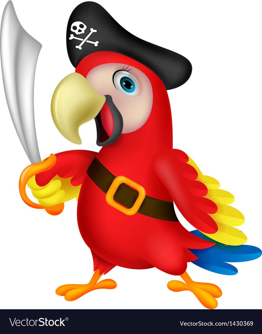 Cute parrot pirate cartoon vector