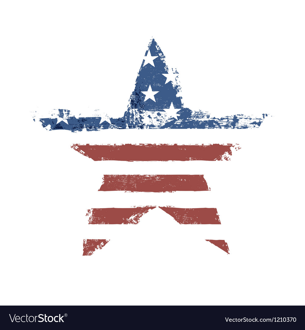 American flag star shape vector