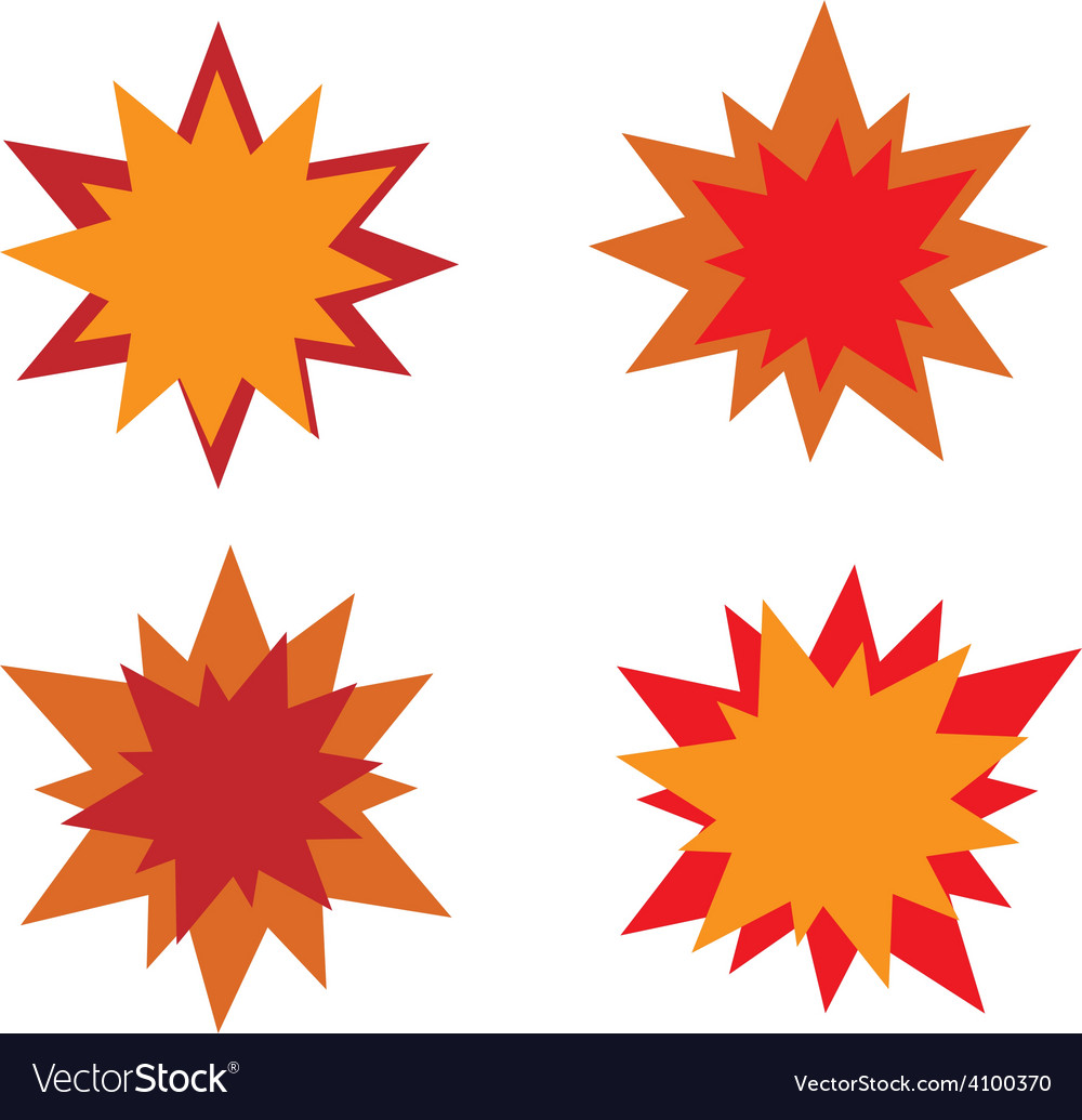 Burst star icons red and orange vector