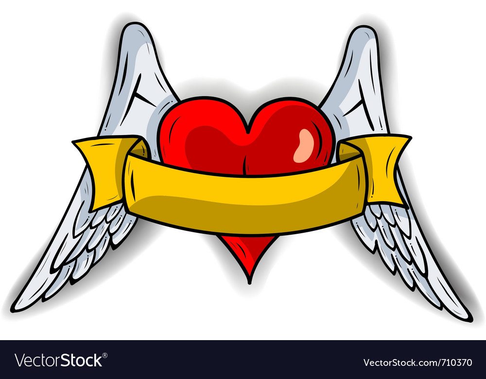 Red heart with the wings vector