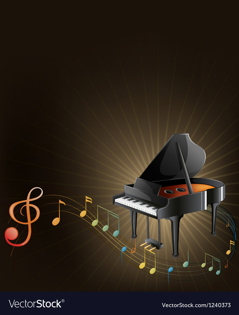 A gray piano with musical notes vector