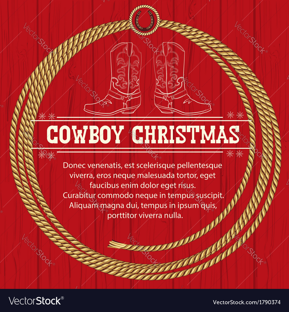 American red christmas background with cowboy vector