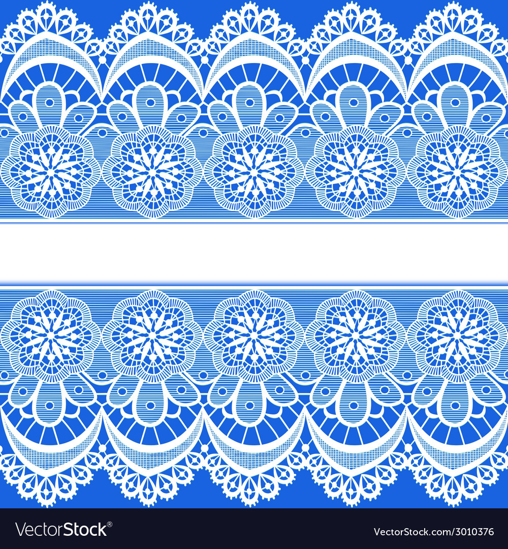 Blue background with stripes of lace vector