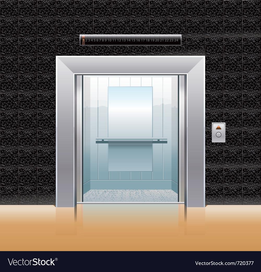 Passenger elevator with opened doors vector