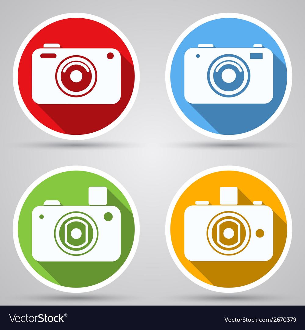 Photo camera icons collection vector