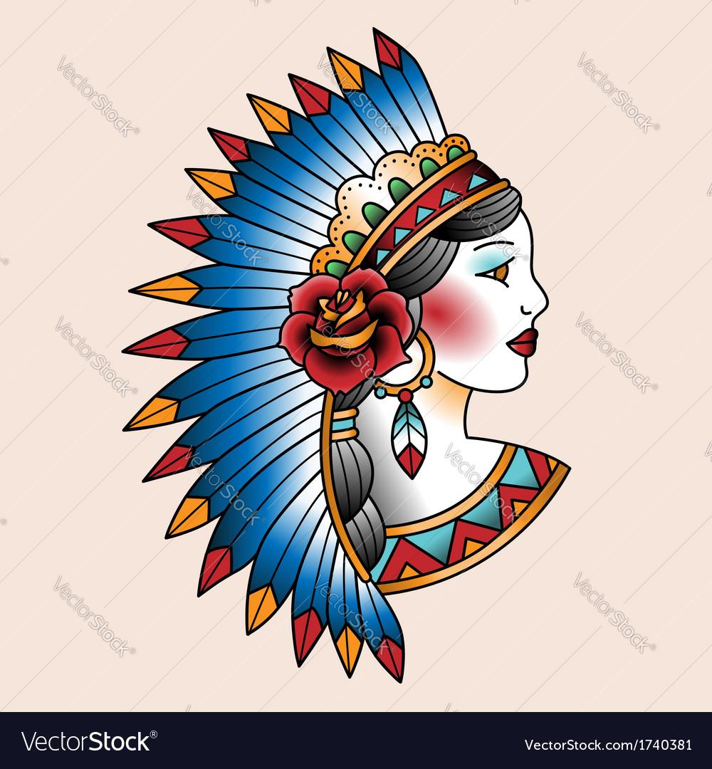 Tattoo indian vector