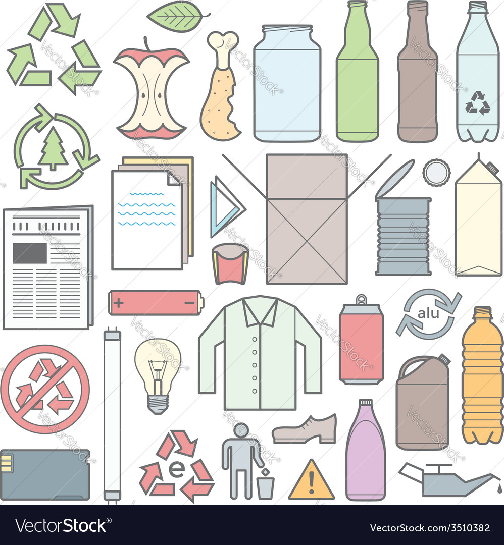 Color outline separated waste outlines icons and vector