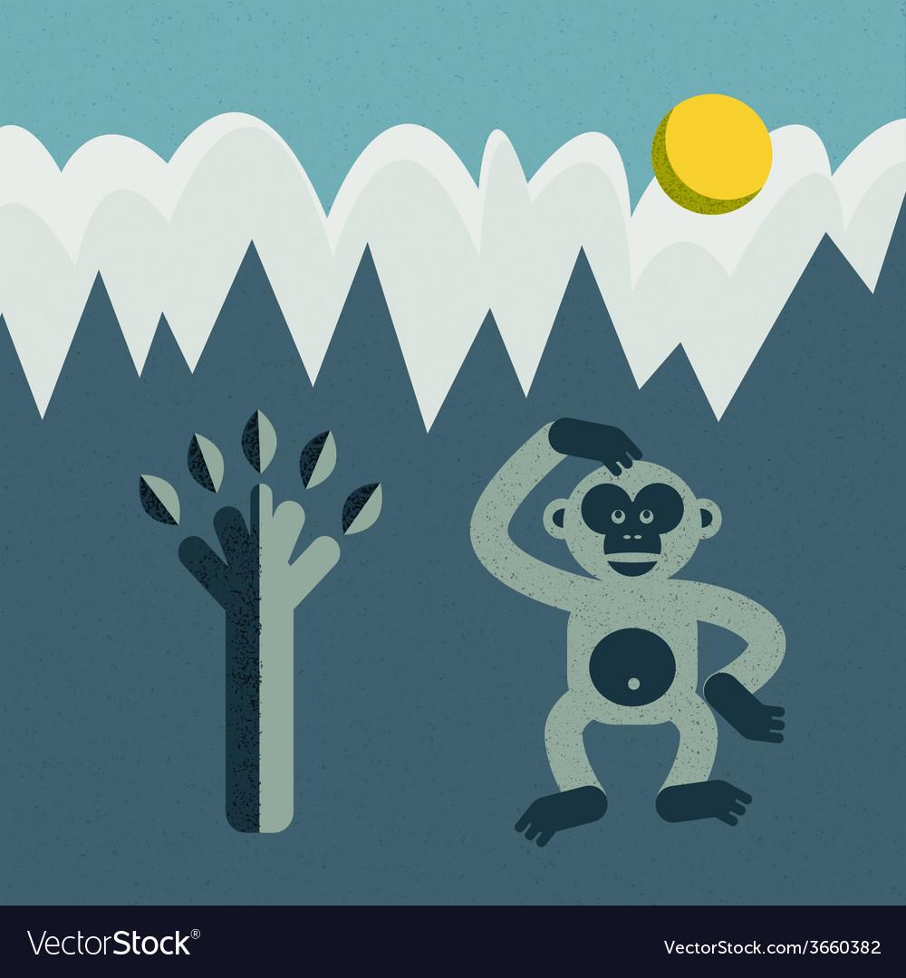 Monkey and tree vector
