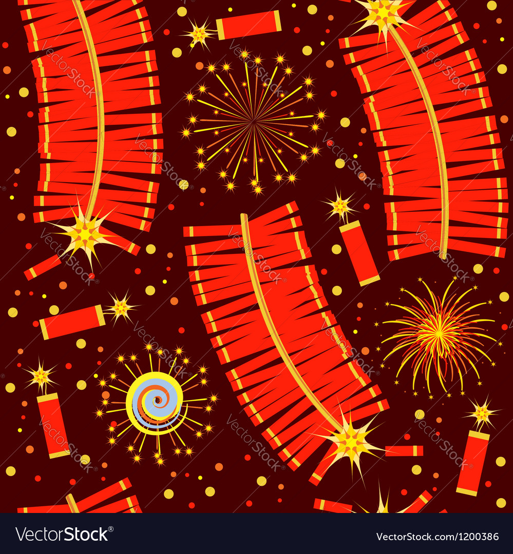 Chinese fireworks seamless pattern for backg vector