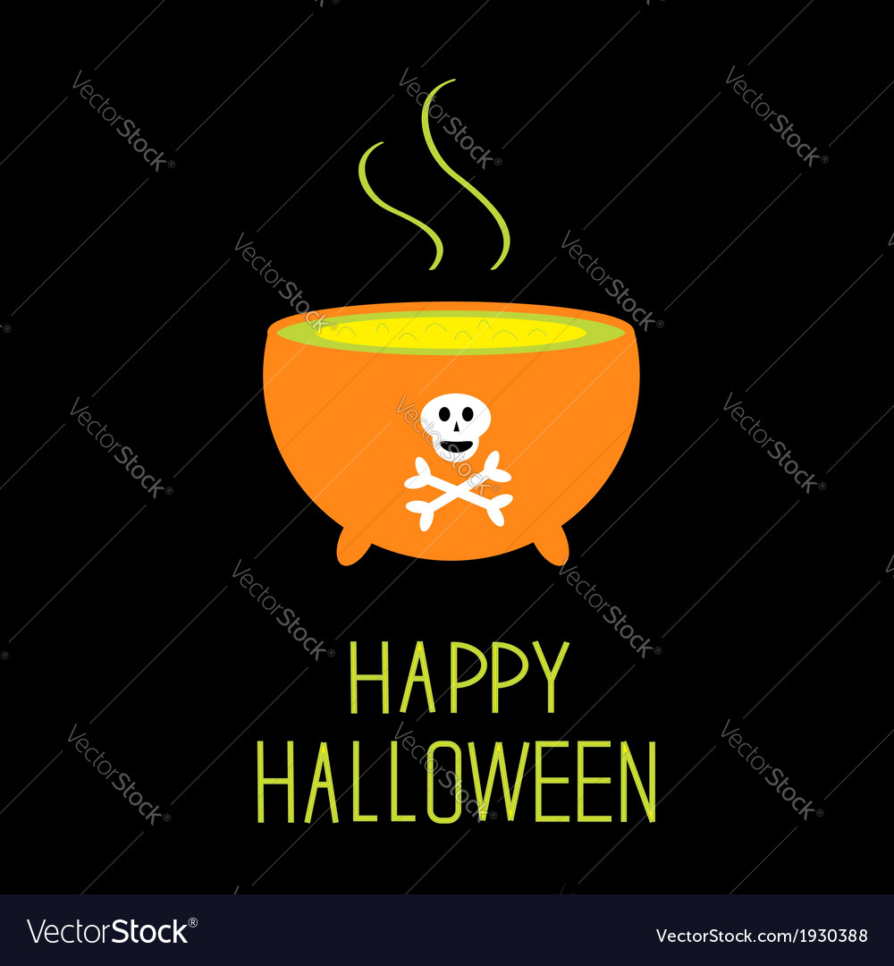 Cauldron with green potion happy halloween card vector