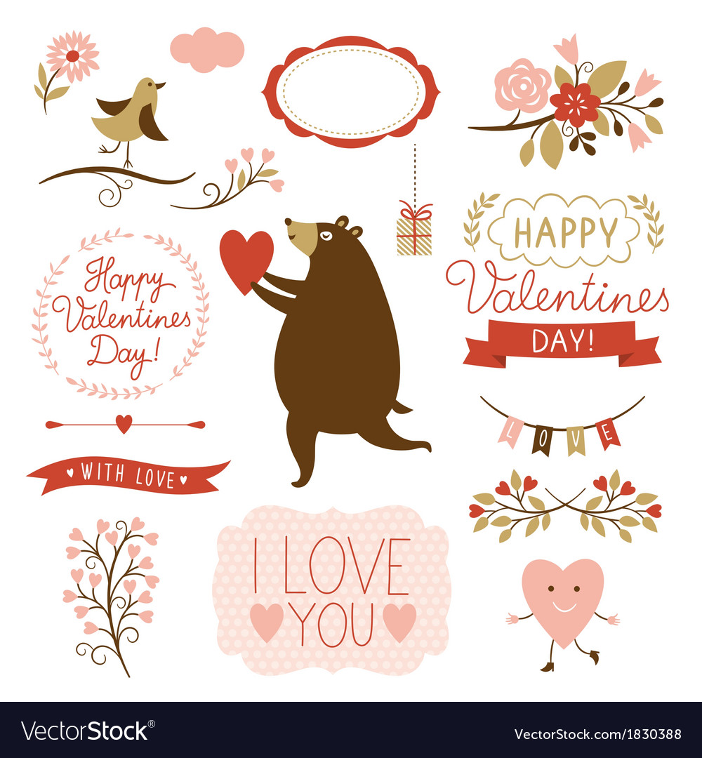 Valentines day graphic elements set vector