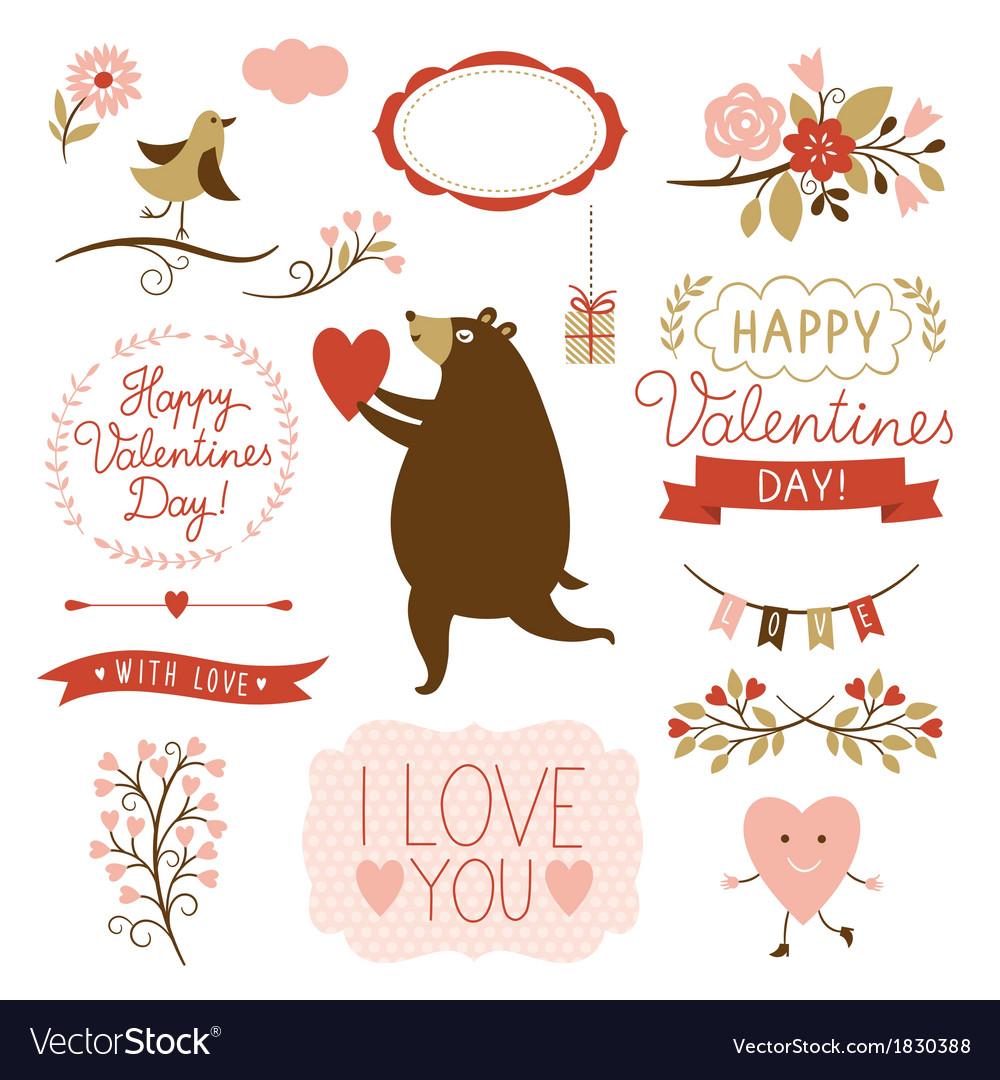 Valentines day graphic elements set vector