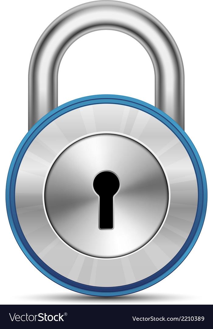 Metallic padlock vector