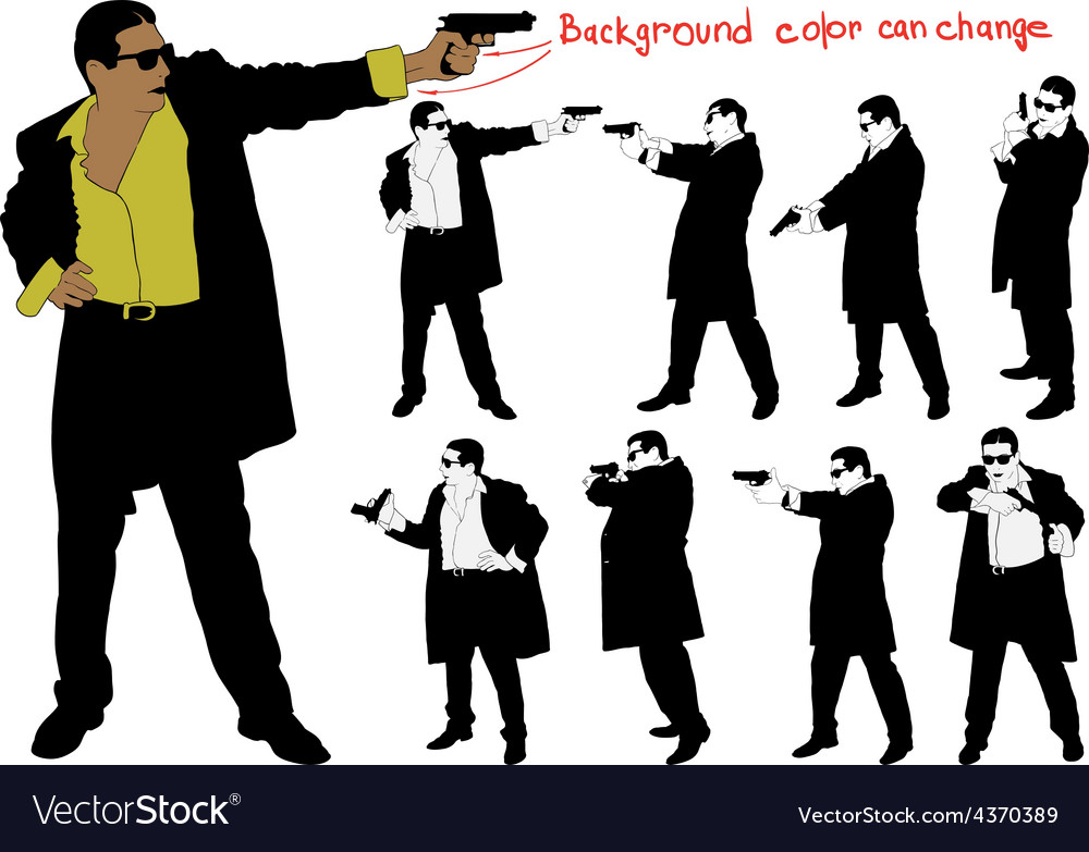 Silhouette of armed man vector