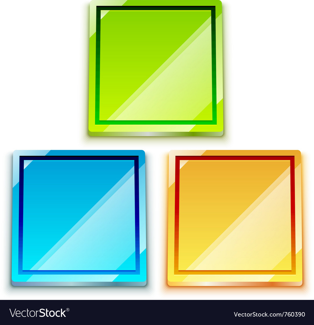 Glossy bright color button set vector