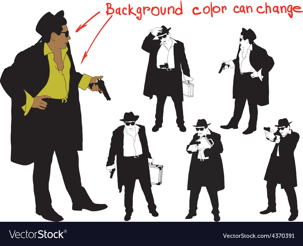 Silhouette of armed man in hat vector