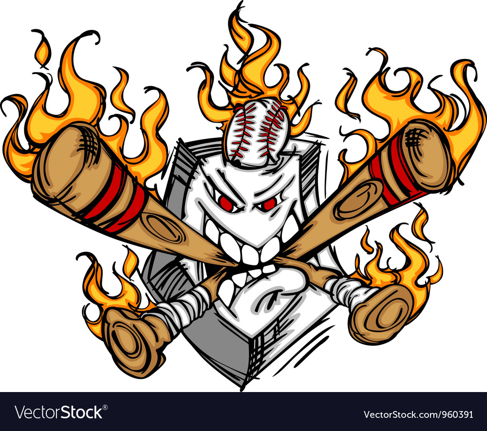 Softball baseball plate and bats flaming cartoon vector