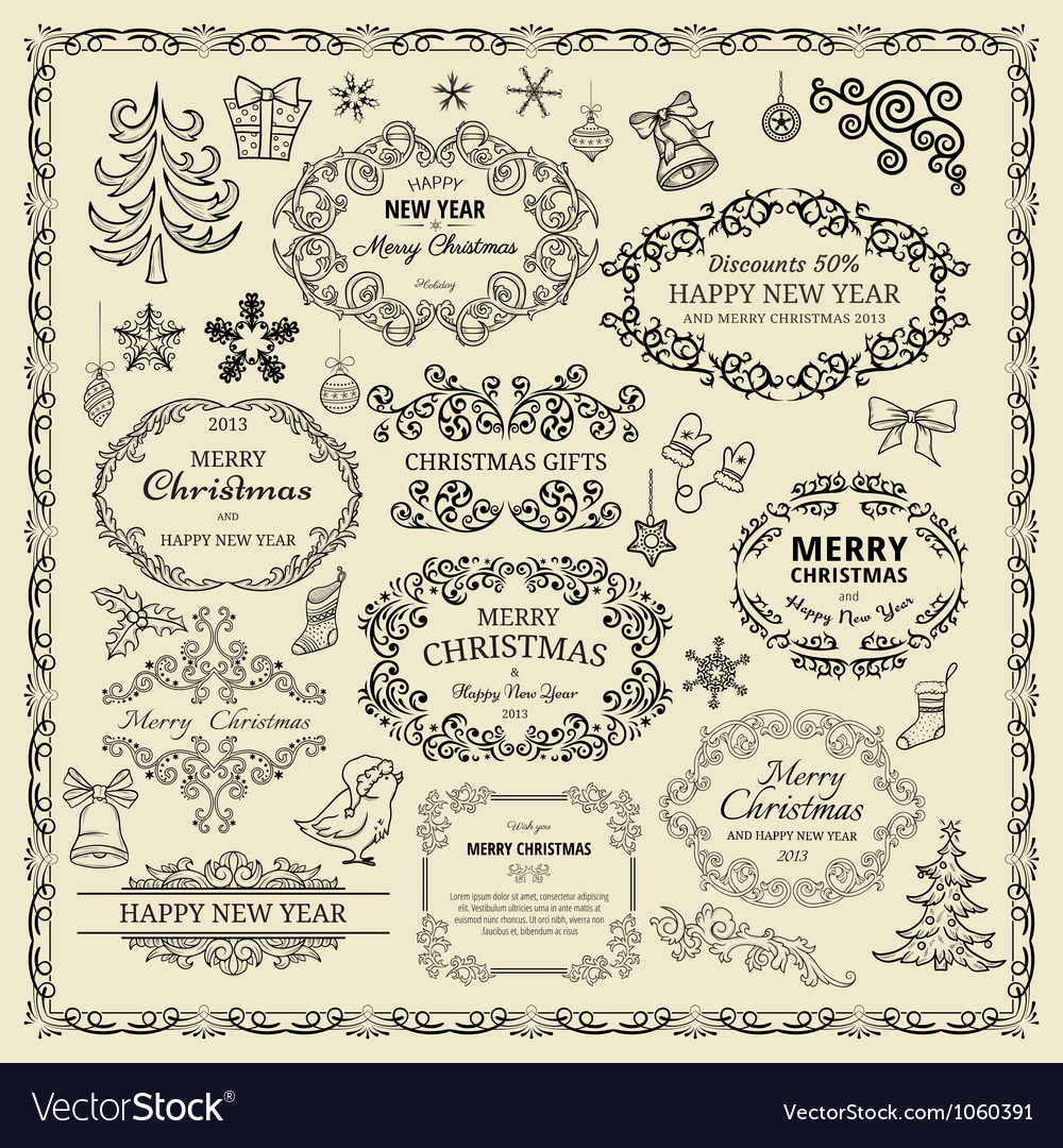 Vintage christmas design elements vector