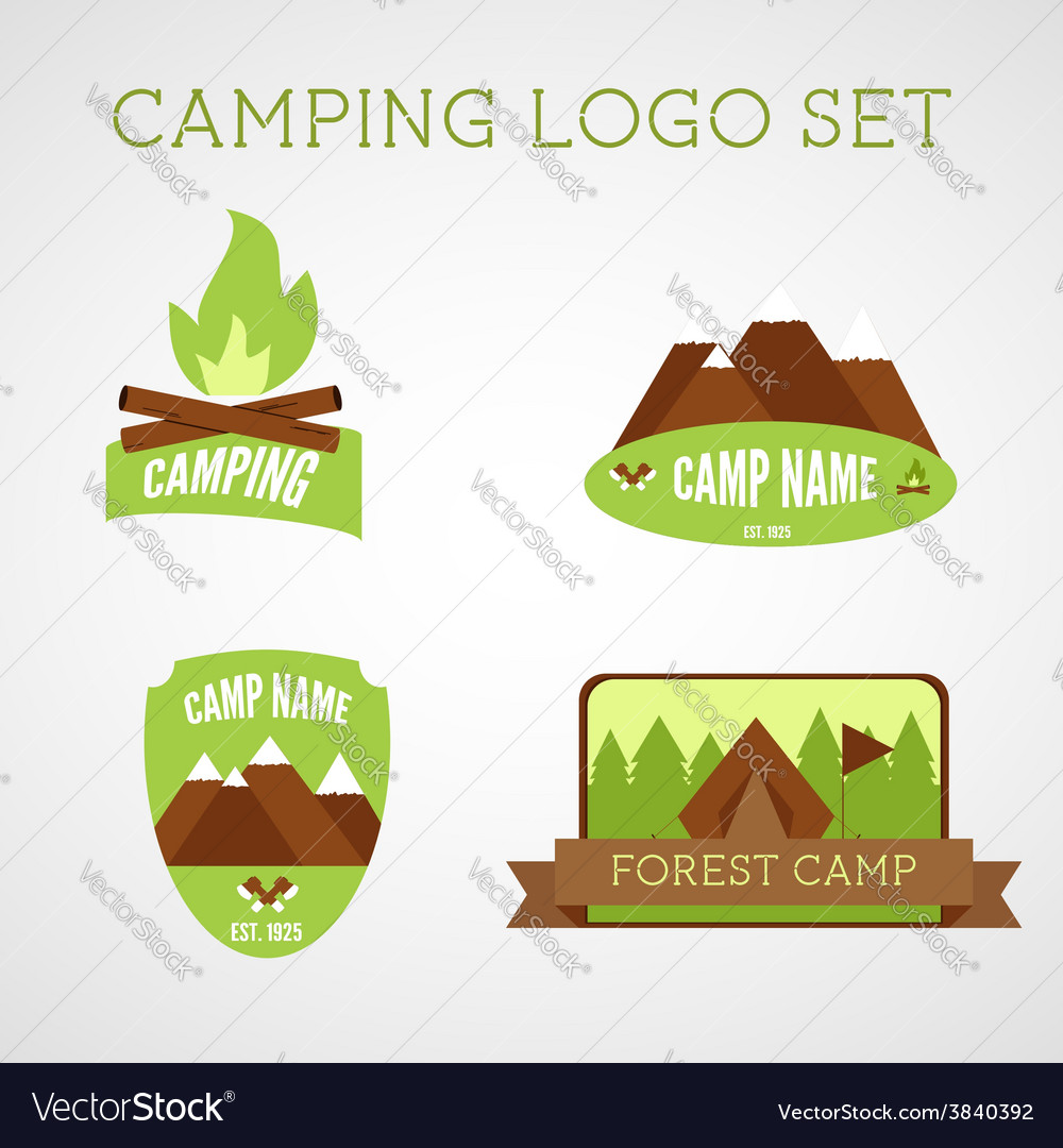 Set of outdoor adventure badges and campsite logo vector