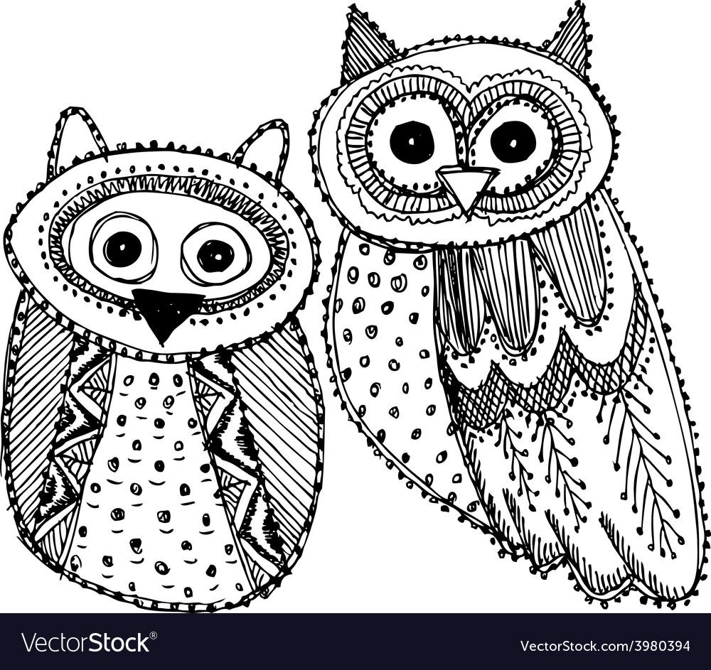 Decorative hand drawn cute owl sketch doodle black vector