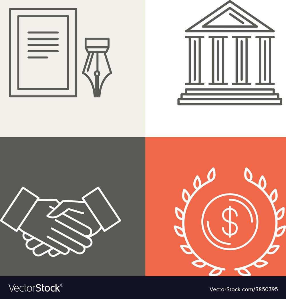 Line bankingg icons and logos vector