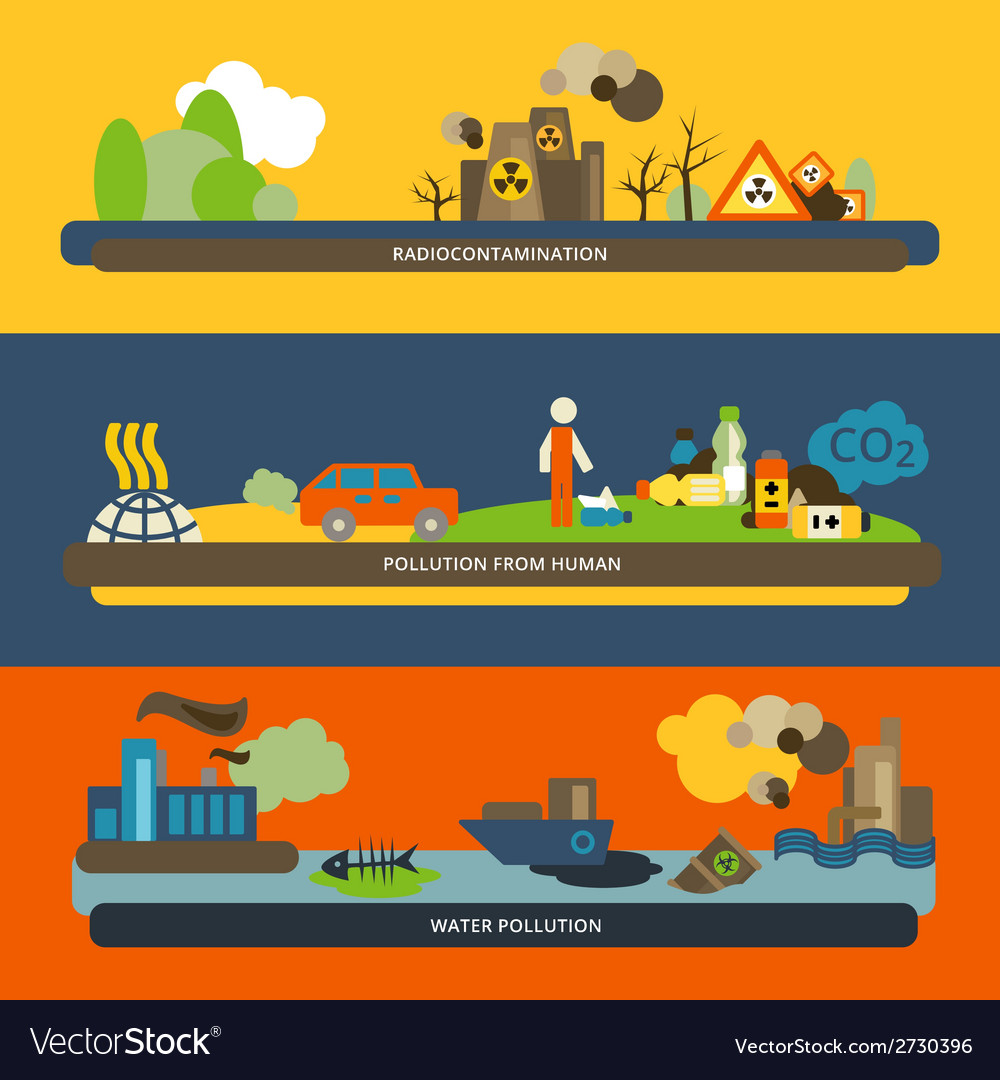 Pollution flat banners vector