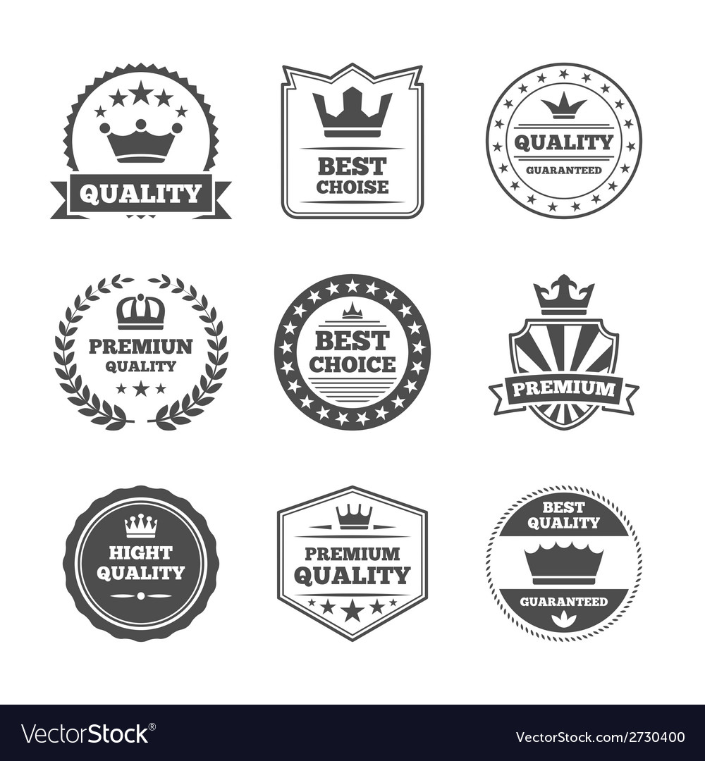 Crown labels icon set vector