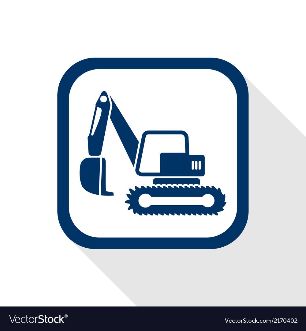 Excavator flat icon vector