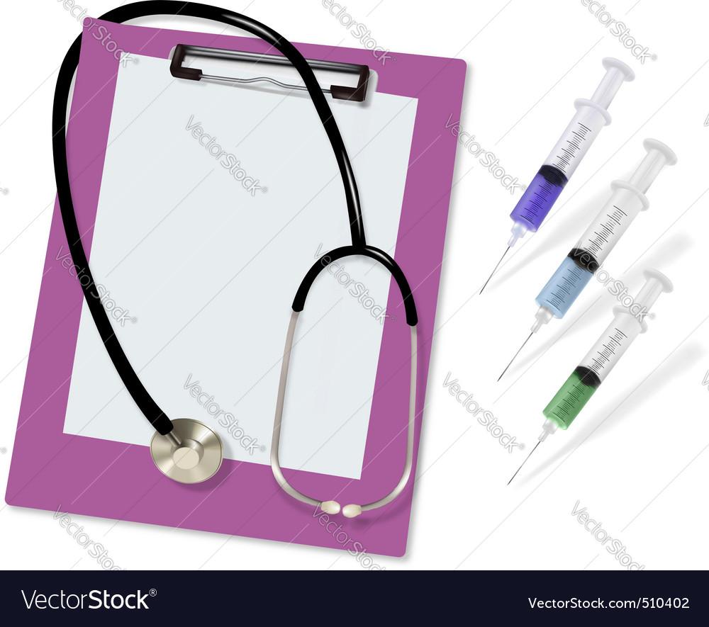 Stethoscope and three syringe vector