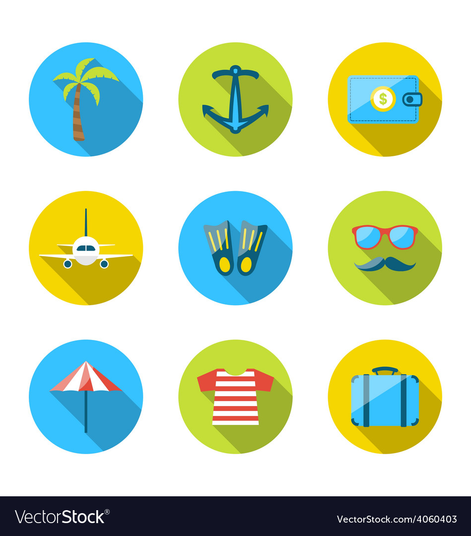 Set flat icons of traveling tourism and journey vector