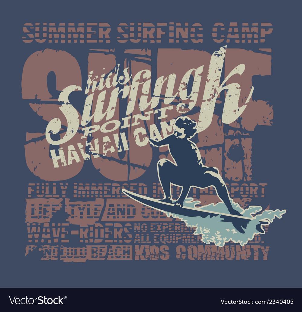 Hawaii surfing camp vector