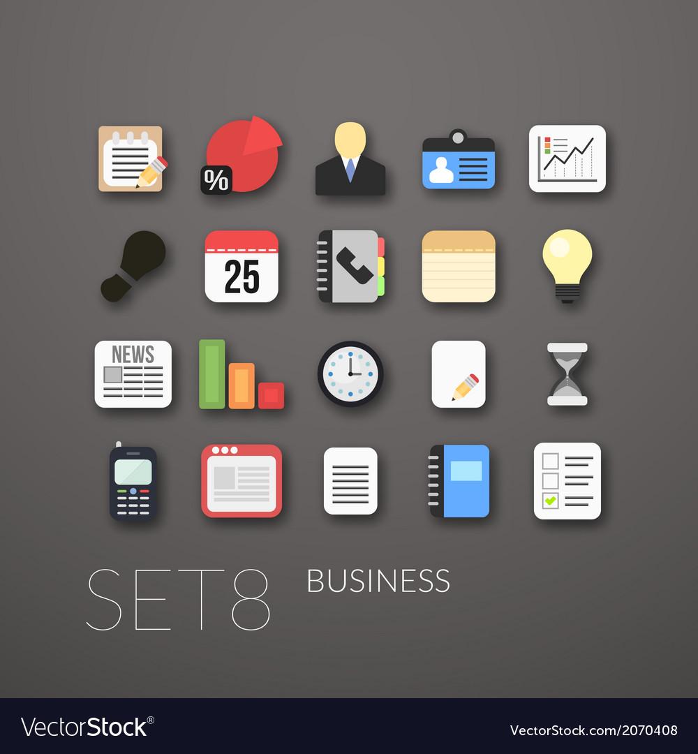 Flat icons set 8 vector
