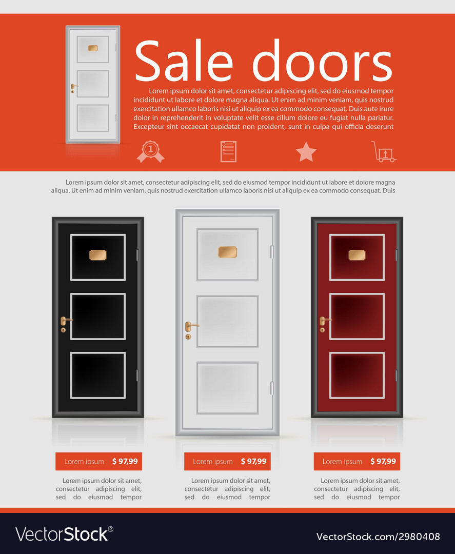 Flat minimalist template business design doors vector