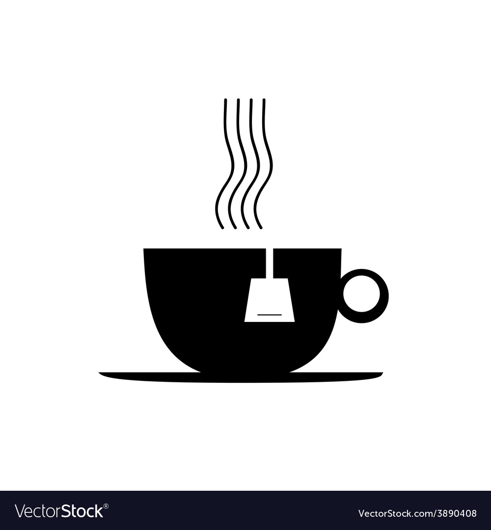 Tea cup black vector