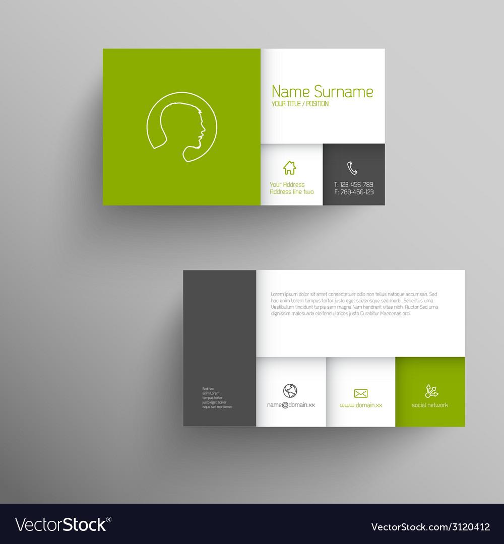 Modern green business card template vector