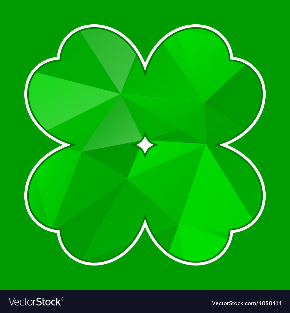 Green polygon cloverleaf with white contour vector