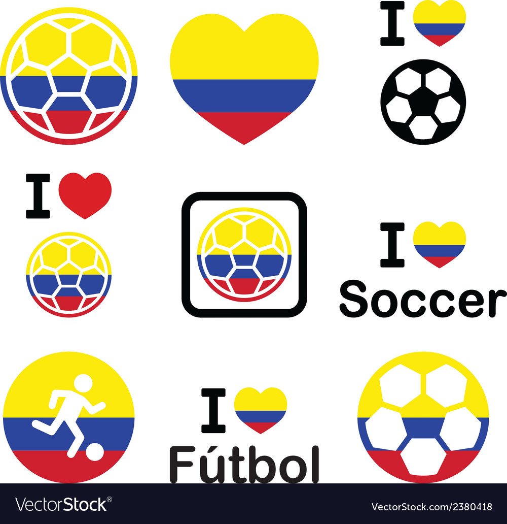I love colombian football soccer icons set vector