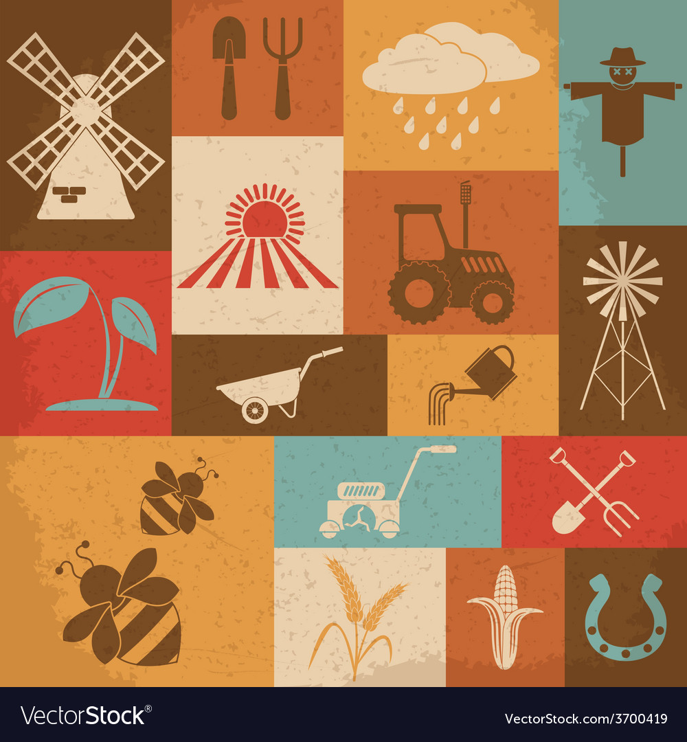 Farming retro icons vector