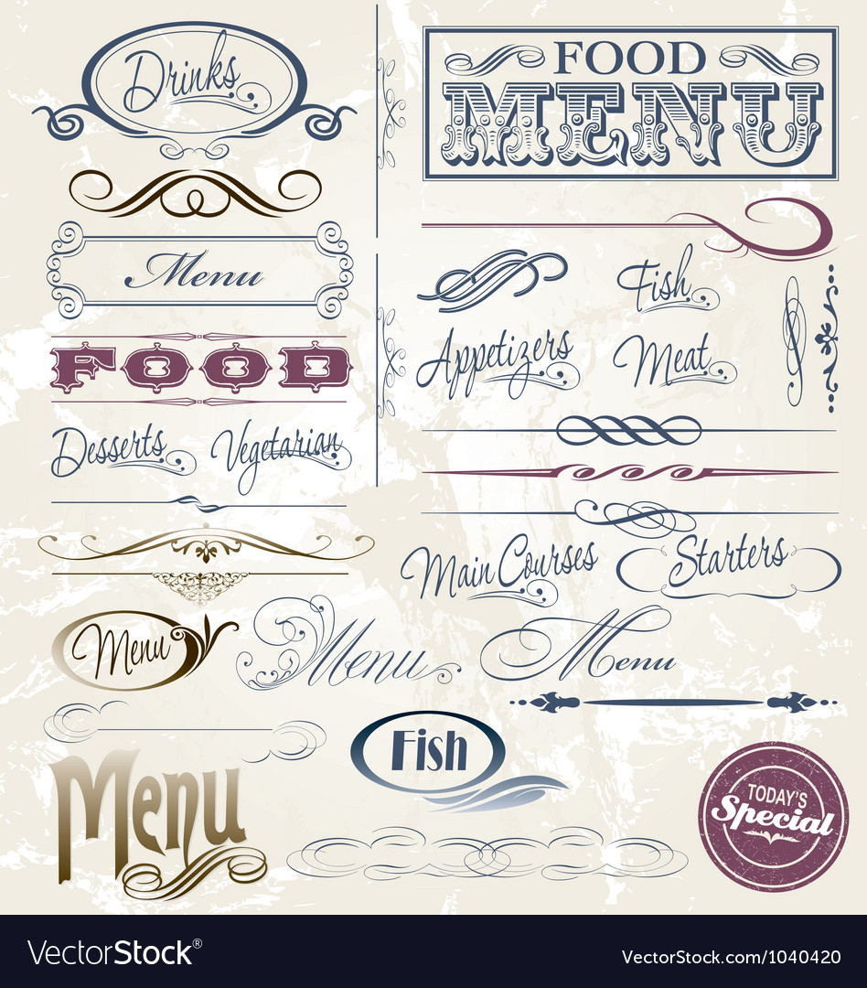 Menu elements vector